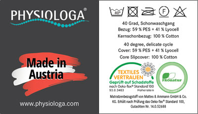 PHYSIOLOGA label and care instructions